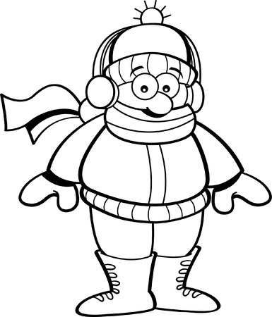 muff: Black and white illustration of a kid wearing winter clothing.