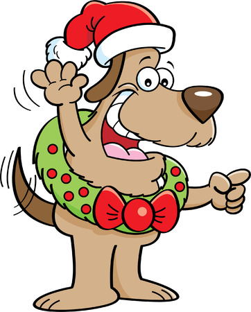 Cartoon illustration of a dog wearing a Christmas wreath and a santa hat. Illusztráció