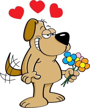 Cartoon illustration of a dog in love holding flowers. Vector