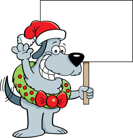 smirking: Cartoon illustration of a dog wearing a Santa hat and wreath holding a sign. Illustration