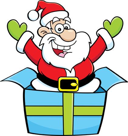 senior citizen: Cartoon illustration of Santa Claus jumping out of a gift box. Illustration