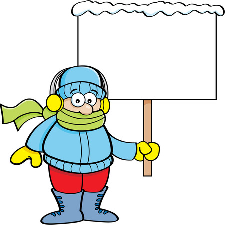 stocking cap: Cartoon illustration of a boy in Winter clothing holding a sign.