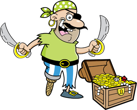 wooden leg: Cartoon illustration of a pirate with a treasure chest.