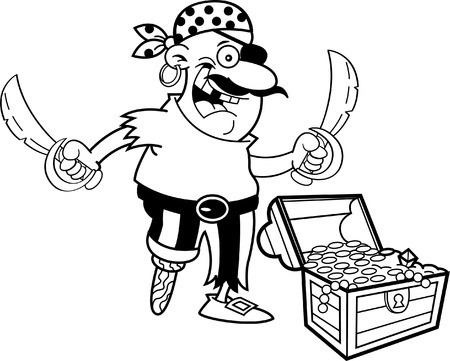 Black and white illustration of a pirate with a treasure chest.