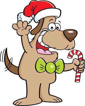 cartoon dog: Cartoon illustration of a dog holding a candy cane. Illustration