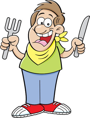 holding a knife: Cartoon illustration of a hungry man holding a knife and fork.
