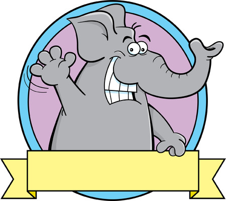 Cartoon illustration of an elephant with a banner sign.