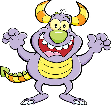 grinning: Cartoon illustration of a grinning monster.