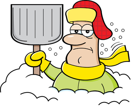 Cartoon illustration of a man buried in snow and holding a snow shovel. Illustration