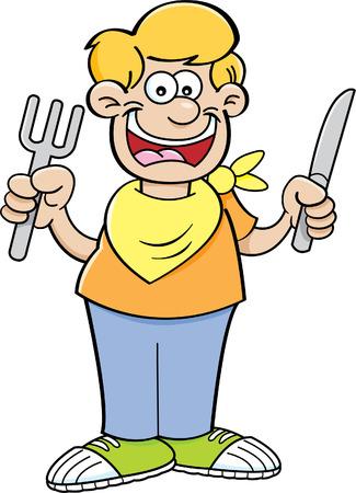 Cartoon illustratie van een hongerige jongen met een mes en vork.