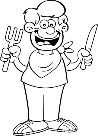 holding a knife: Black and white illustration of a hungry boy holding a knife and fork. Illustration