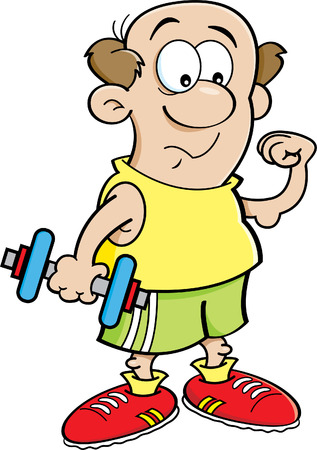 weak: Cartoon illustration of a weak man holding a dumbbell and making a muscle. Illustration