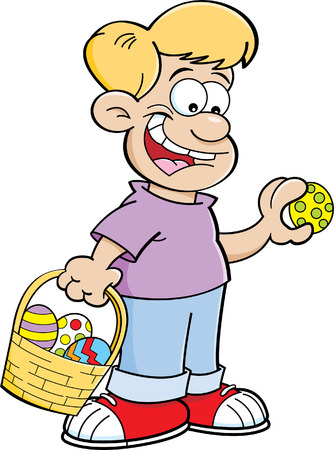 finding: Cartoon illustration of a boy with an Easter basket finding Easter eggs. Illustration