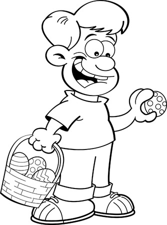 finding: Black and white illustration of a boy with an Easter basket finding Easter eggs.