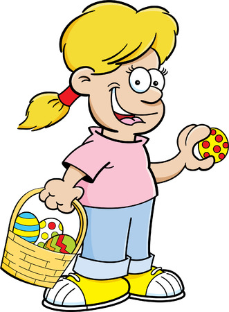 finding: Cartoon illustration of a girl with an Easter basket finding Easter eggs.