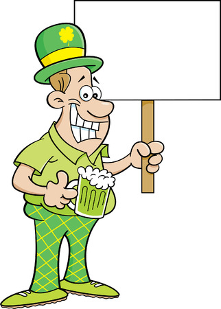 smilling: Cartoon illustration of a man wearing a derby and holding a sign.
