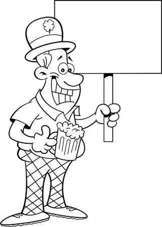 derby hats: Black and white illustration of a man wearing a derby and holding a sign.