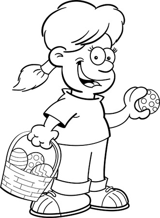 finding: Black and white illustration of a girl with an Easter basket finding Easter eggs. Illustration