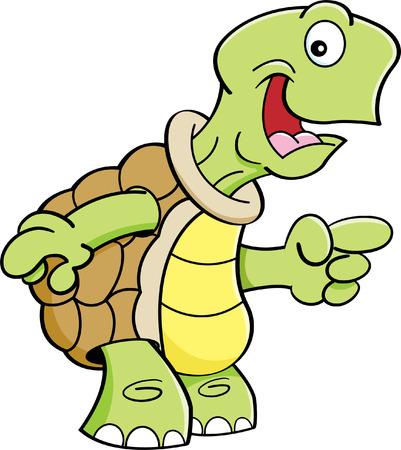 Cartoon illustration of a happy turtle pointing. Ilustração