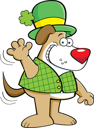 derby hats: Cartoon illustration of a dog wearing a derby and waving.
