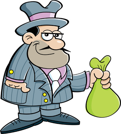 Cartoon illustration of a gangster holding a bag.