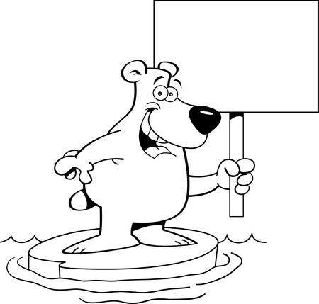 Zwart-wit afbeelding van een ijsbeer met een bordje.