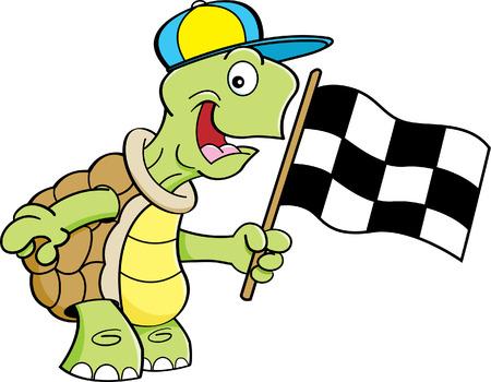 tortuga caricatura: Ilustración de dibujos animados de una tortuga con una bandera a cuadros.