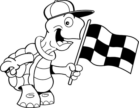 Black and white illustration of a turtle waving a checkered flag. Vector
