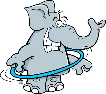 Cartoon illustration of an elephant using a dance ring.