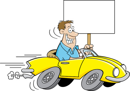 Cartoon illustration of a man driving a car and holding a sign. Illustration