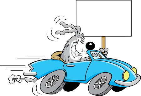 автомобили: Мультфильм иллюстрация собака за рулем автомобиля и проведение знак.