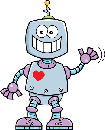 Cartoon illustration of a smiling robot waving.