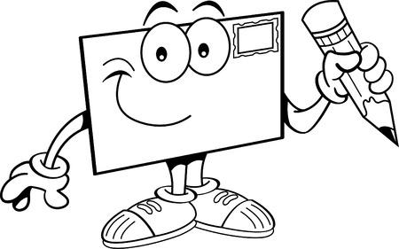 Illustration en noir et blanc d'une enveloppe tenant un crayon. Banque d'images - 39035700