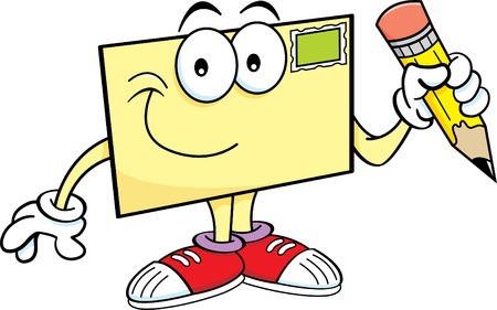 cartoon envelope: Cartoon illustration of an envelope holding a pencil.