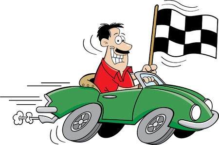 Cartoon illustration of a man driving a car and holding a checkered flag. Vectores