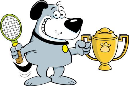 perro caricatura: Ilustración de dibujos animados de un perro que sostiene una raqueta de tenis y un trofeo.