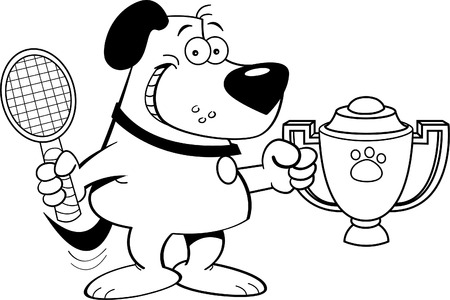 Black and white illustration of a dog holding a tennis racket and a trophy.