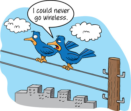 telephone cartoon: Cartoon of two birds talking on a telephone wire.