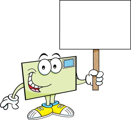 Cartoon illustration of an envelope holding a sign. Illustration