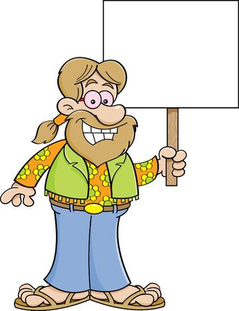 Cartoon illustration of a hippie holding a sign. Illustration