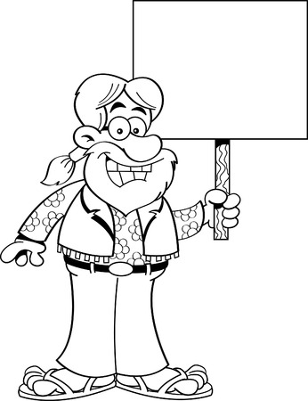 Black and white illustration of a hippie holding a sign. Illustration