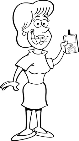 woman cellphone: Black and white illustration of a women holding a cell phone.