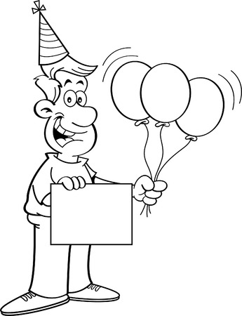 funny birthday: Black and white illustration of a man holding balloons and a sign while wearing a party hat.
