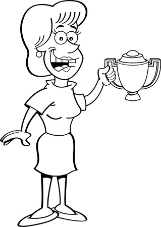 encapsulated: Black and white illustration of a smiling women holding a trophy.