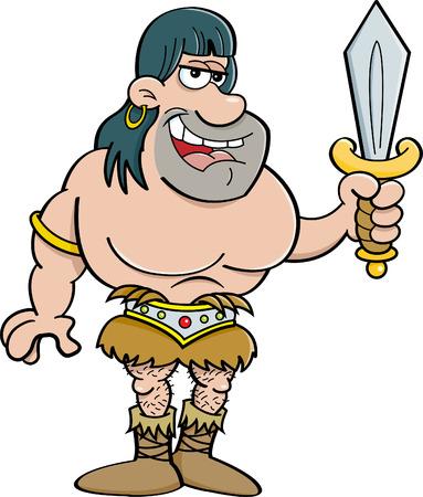 barbarian: Cartoon illustration of a barbarian holding a sword.