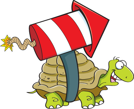 Cartoon illustration of a turtle with a rocket on his back.