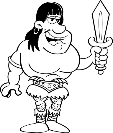 barbarian: Black and white illustration of a barbarian holding a sword.