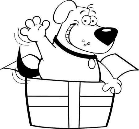 grin: Black and white illustration of a dog inside a gift box.