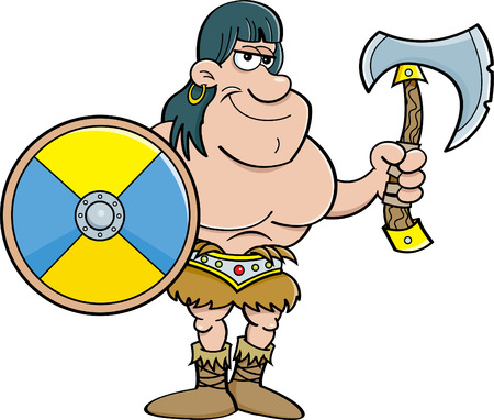 encapsulated: Cartoon illustration of a barbarian holding a shield and an axe.