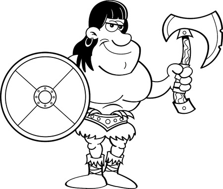 cartoons outline: Black and white illustration of a barbarian holding a shield and an axe.